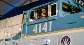 George HW Bush 13-years ago drove this locomotive, today it's his last ride