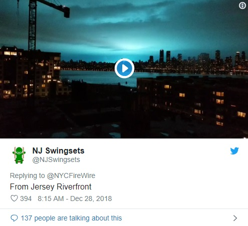 Sudden lit up at New York's Skyline, with a blue glow | tnbclive.com